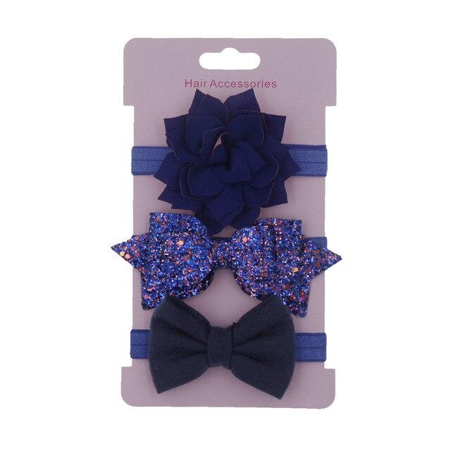 Girl's Sequined Bowknot Headbands 3 pcs Set 6