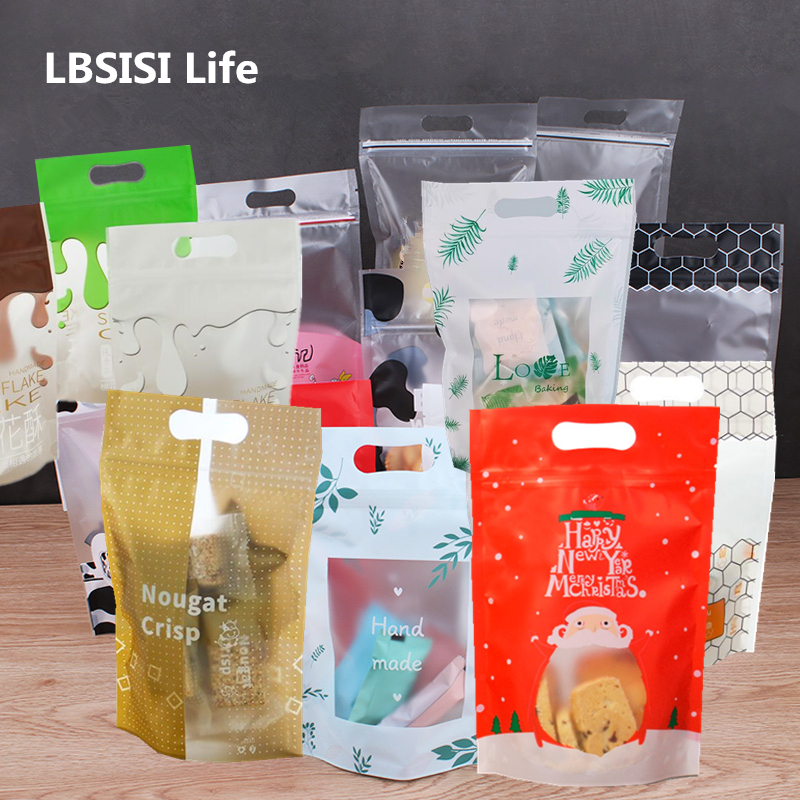 LBSISI Life 50pcs Christmas Candy Cookie Gift Zip Lock Plastic Packaging Bags Hand Hold Biscuits Package Wedding Favor Bag
