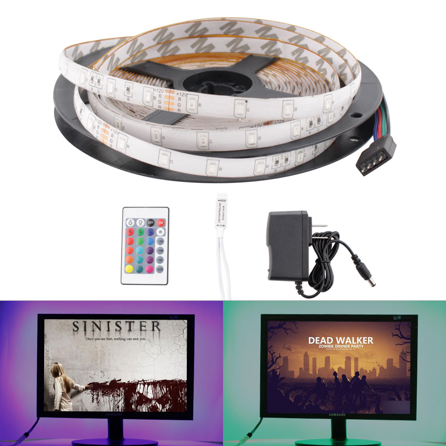 DC 12 V RGB LED Strip SMD 2835 Flexible Leds TV Backlight 5M Waterproof 12V Led Strip Tape Diodes With IR Control Power Adapter