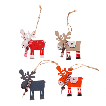 1pcs New Year 2020 Elk Wood Pendant Drop Ornaments Christmas Tree Wood Craft Xmas Tree Decorations for Home image