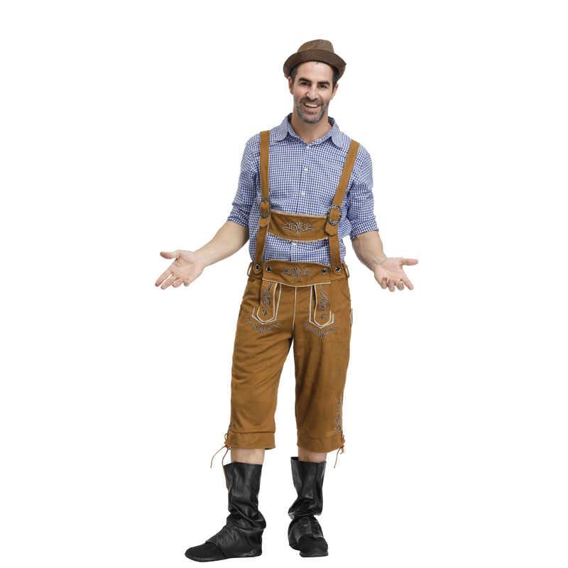 Mens Oktoberfest เครื่องแต่งกายชุดเยอรมัน Oktoberfest เทศกาลเบียร์คอสเพลย์ผู้ใหญ่ขนาดฮาโลวีนเครื่องแต่งกาย
