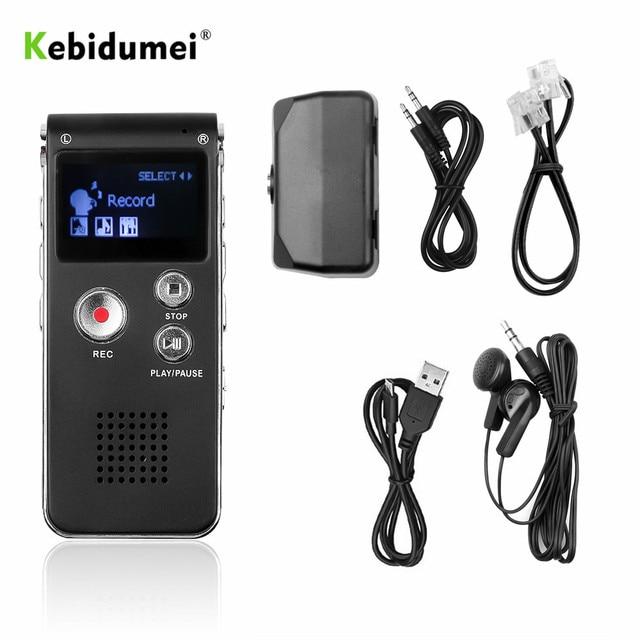 Kebidumei 8GB קול דיגיטלי מקליט נטענת דיקטפון טלפון אודיו נגן אודיו מקליט MP3 נגן עם מיקרופון