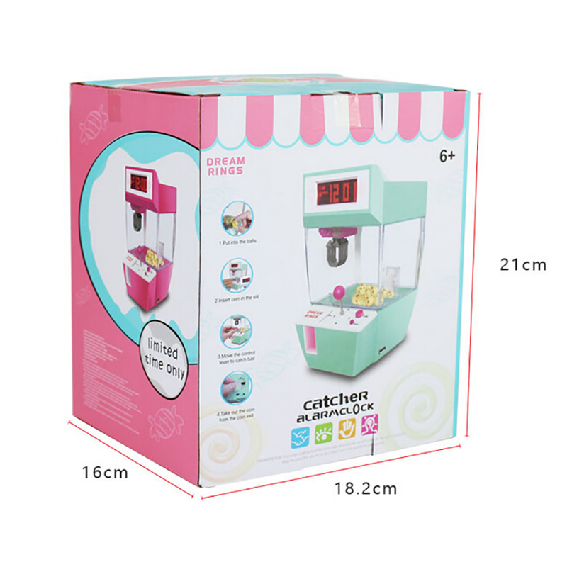 Cute Baby Toys  Arcade Machine Automatic Toy Kids Catcher Alarm Clock Coin Operated Game Crane Machine Candy Doll Grabber Claw