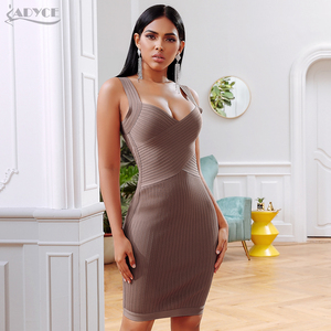 Image 4 - ADYCE 2020 yeni yaz bandaj parti elbise kadınlar seksi kolsuz spagetti kayışı Bodycon Midi haki ünlü akşam kulübü elbise