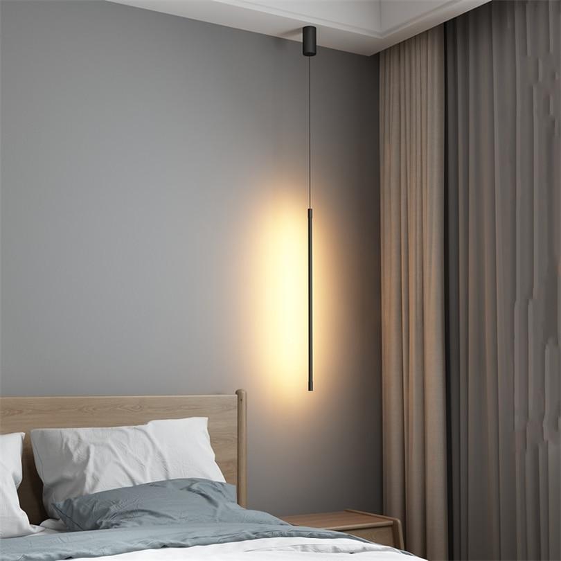 Simple Bedroom Bedside Pendant Light Modern Black Led ...