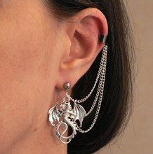 Boucles d'oreilles Dragon boucles d'oreilles fantaisie Cosplay chaînes plaquées argent et boucle d'oreille hypoallergénique
