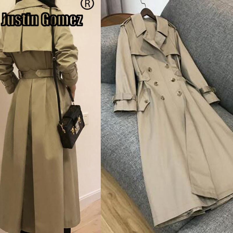 Spring Autumn 2020 Women British Double Breasted Slim Classic Long Trench Coat Simple Style Soft Windbreaker Casacos Femininos