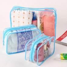 Saco cosmético multifuncional pvc transparente à prova dwaterproof água viagem compõem necessaries organizador zíper maquiagem bolsa sacos de higiene pessoal