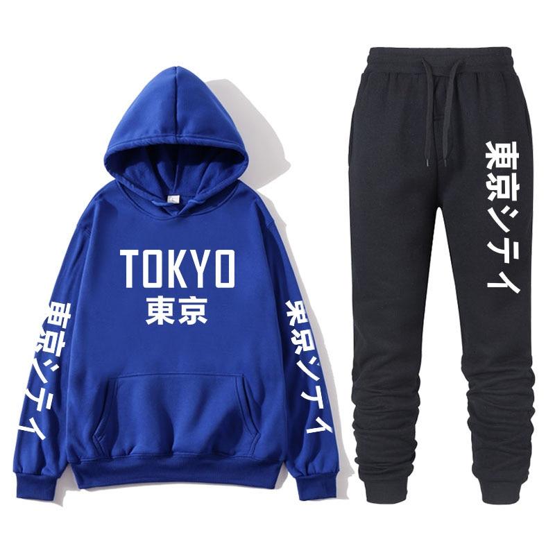 Japanese Street Fashion Printing Men's With Tokyo Bay Hoodie Suit Brand Sportswear Men's Hip Hop Sweatshirt + Sports Pants Autum
