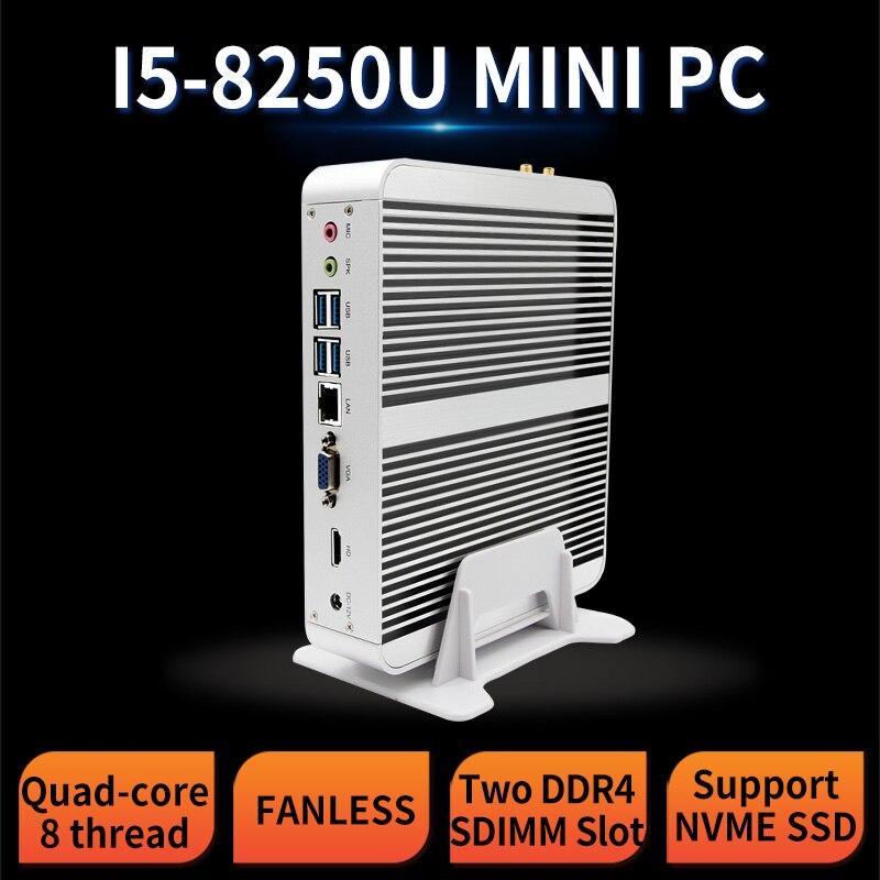 MSECORE i5 8250 NVME DDR4 jeu Mini PC Windows 10 ordinateur de bureau Nettop sans ventilateur pc linux barebone intel HTPC UHD620 HD WiFi
