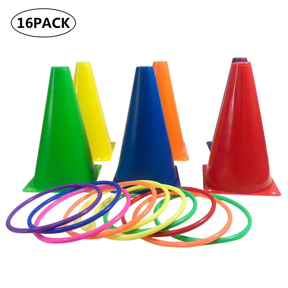 16pack Outdoor Toss Games Ring Toss Game Ring Toys Sports Toy Sense Training Plastic Ring For Children Kids
