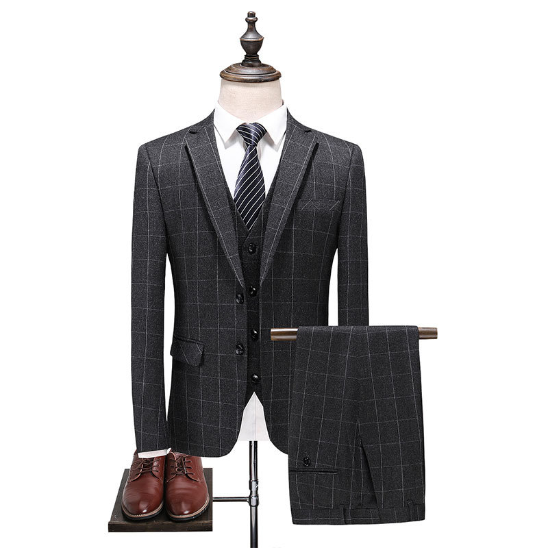 Suit Men Three-piece Set Business Casual Plaid Small Suit Slim Fit Summer Best Man Groom Marriage Formal Dress