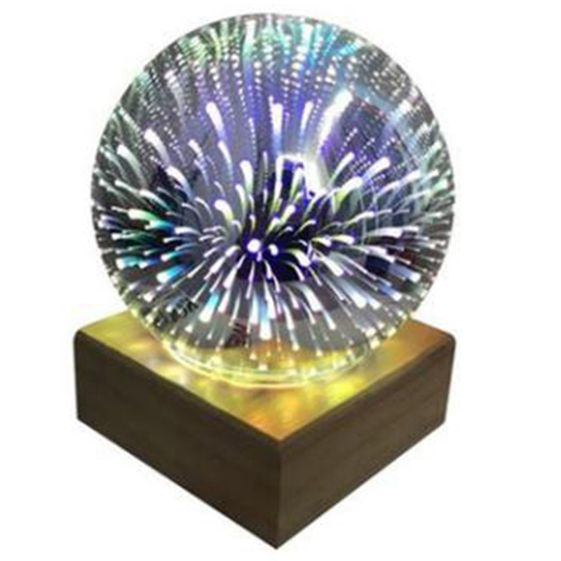 Wood Colorful 3D Light Magic Projector Ball 3D Lamp Usb Power Supply Bedroom Bedside Night Light Party Star Atmosphere Night Lig