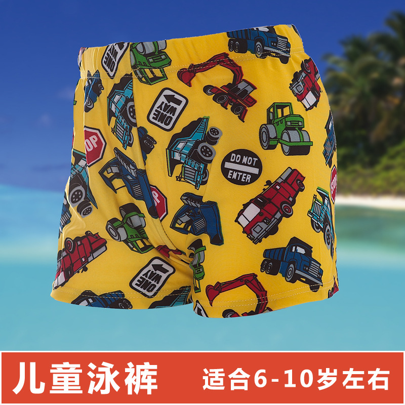 CHILDREN'S Swimming Trunks Big Kid Hot Springs Cartoon Printed Swimming Trunks Boxer Quick-Dry Beach Shorts Pool Hot Selling