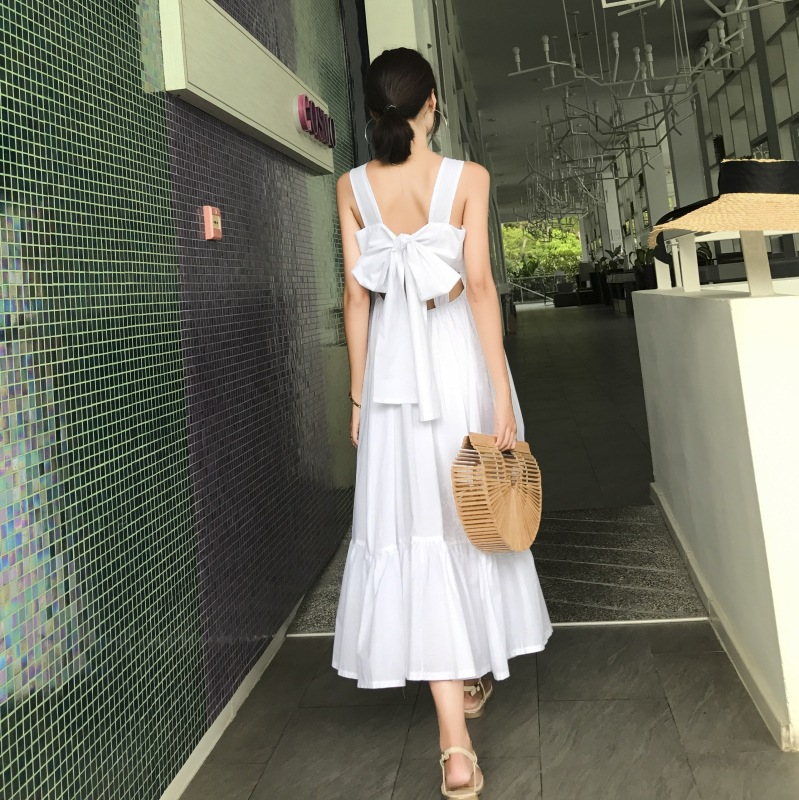 Photo Shoot Thailand Seaside Holiday Xia Chao Fairy Pphome Long Skirts BF Gentle Laziness-Style CHIC Strapped Dress