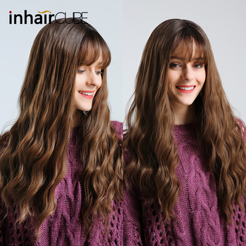 цена на Inhaircube  Long Brown Curly Womens Wigs with Bangs Synthetic Wig Glueless Natural Hair Heat Resistant Free Shipping