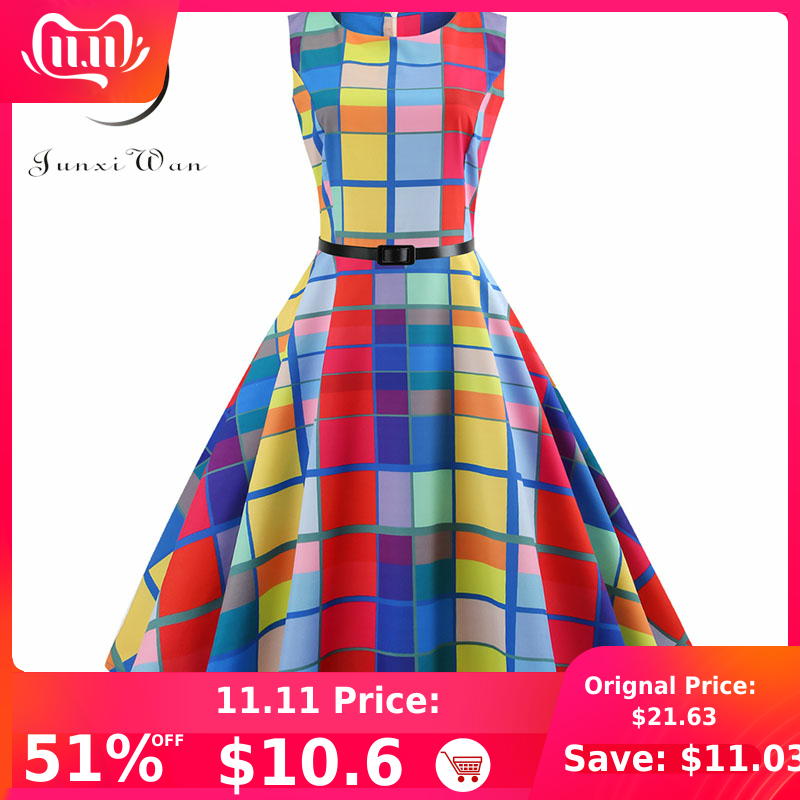 Plaid print vintage vestido feminino verão floral swing vestidos de festa hepburn 50s 60s plus size retro elegante robe feminino vestidos