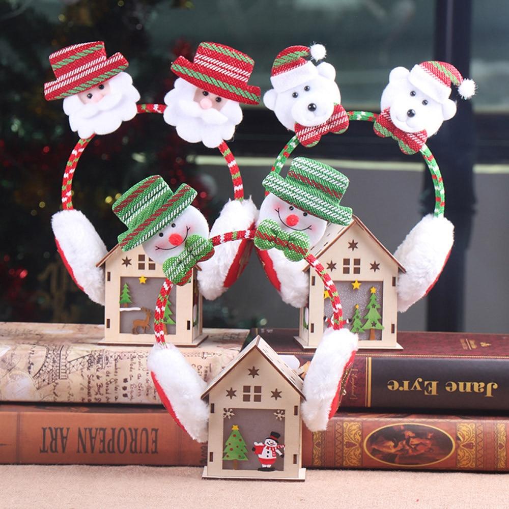 Earmuffs Winter Women Windproof Warm Cute Christmas Santa Snowman Deer Bear Earmuffs Headband Ear Warmers Kid Adult GIFT K1016