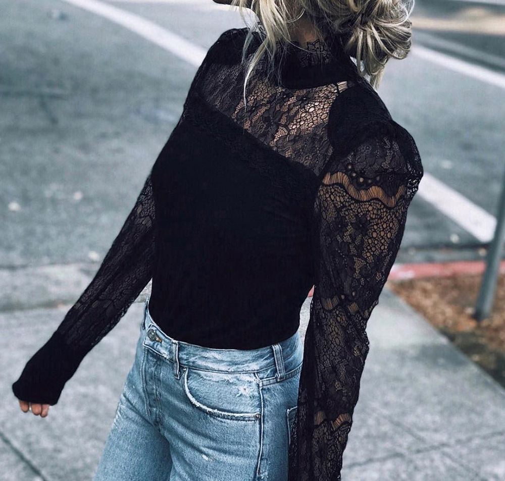 women blouse fashion 2020  female ladies clothing lace hollow out long sleeve sexy womens top shirt top 90s