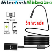 Newest Wifi Endoscope camera Android IOS Boroscope Camera 5m hard cable 8mm Wireless Waterproof Iphone Endoscope Camera 8 LEDS