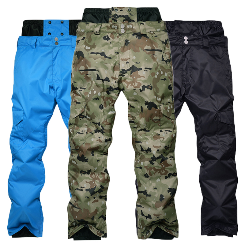 Men's New Winter Outdoor Ski Pants Windproof Waterproof Warming Camouflage Trousers Ski Snowboard Protect Pants Soft Shell