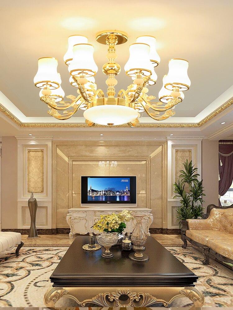 Européen en alliage de Zinc luxe lustre salon Jade chambre maison grand luminaire suspendu nouvelle Villa Lobby concepteur déco lampe à LED