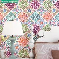 Imitation tile wallpaper bohemian ethnic Southeast Asian style living room wedding room shop bedroom TV background wallpaper