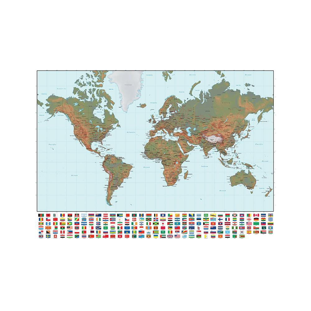 The World Map Regular Simplified Non-woven Map 150x100cm With National Flag For Beginner