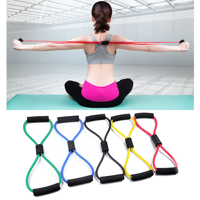 Yoga 8 Word Fitness Rope Resistance Bands Muscle Stretch Workout Fitness Rubber Elastic Bands Sports Exercise Equipment Expander