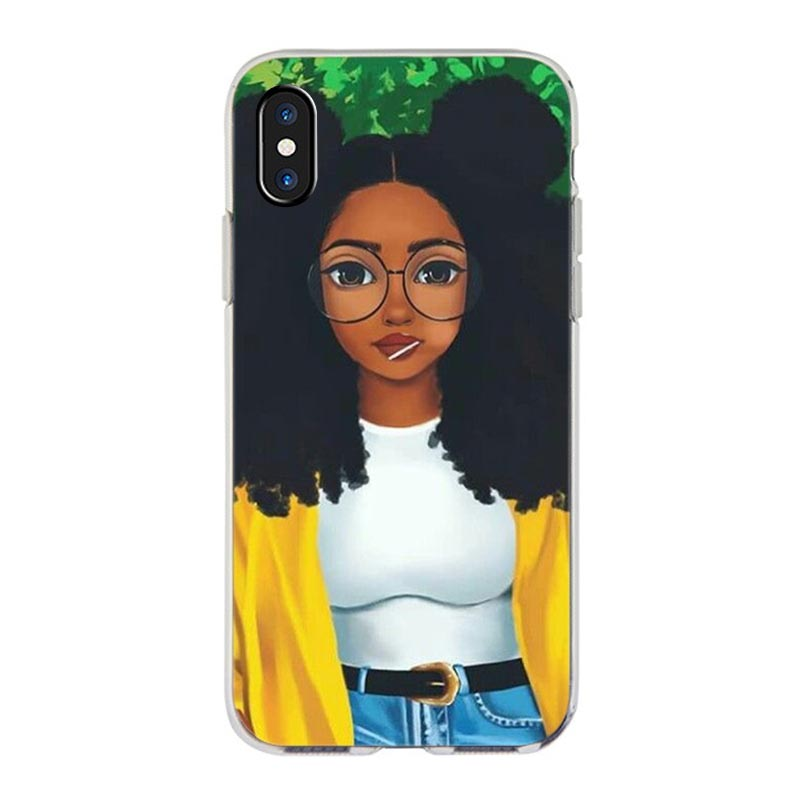 MaiYaCa  New Personalized MELANIN POPPIN Black Girl Phone Case for iPhone 11 Pro XS Max XR 8 7 6 6S Plus X 5S SE 6