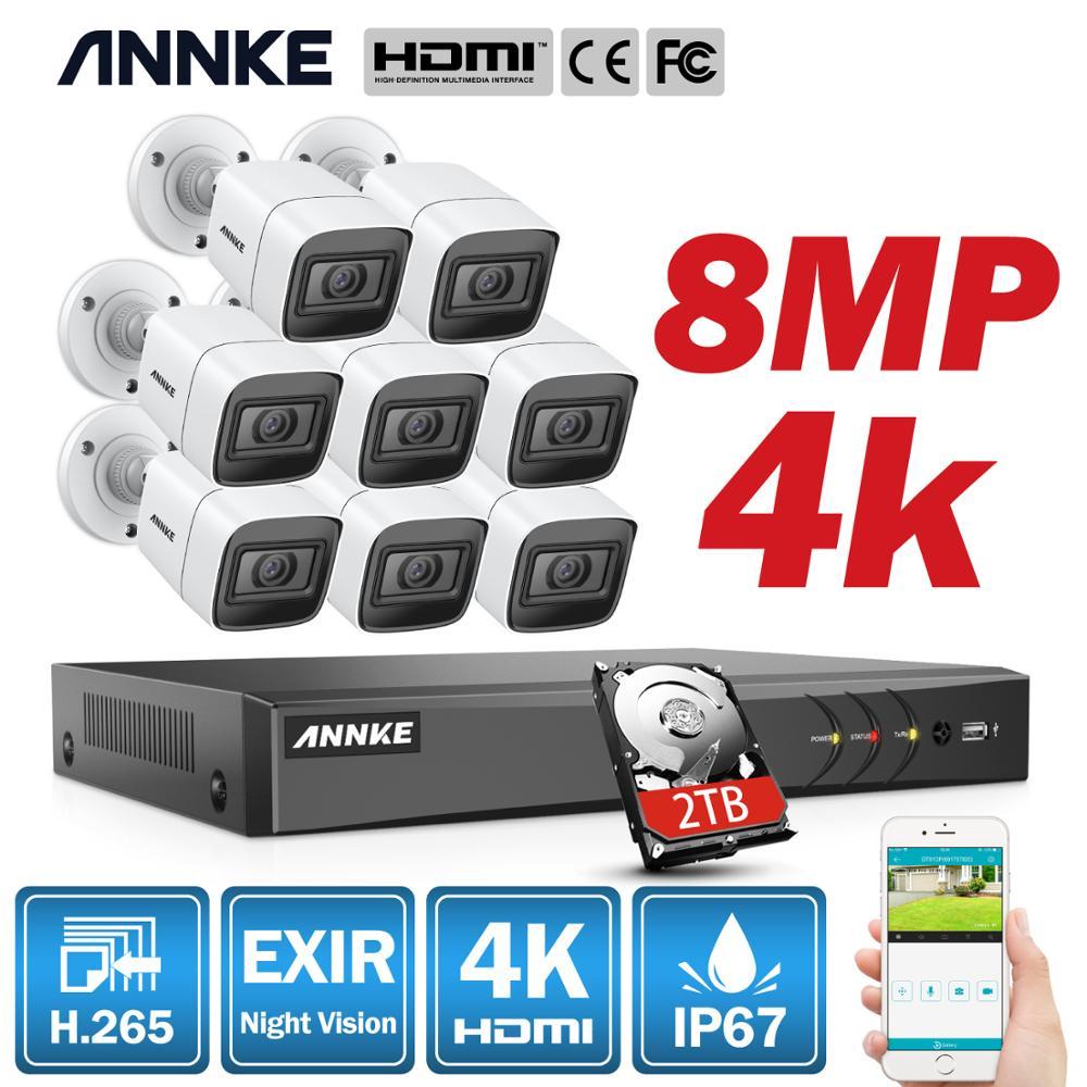 ANNKE 4K 8CH Ultra HD CCTV sistema de cámara H.265 DVR Kit 4 uds/8 Uds 8MP TVI sistema de Video de seguridad para exteriores en casa ANRAN AHD CCTV sistema 2MP DVR Sistema de videovigilancia, cámara de seguridad exterior HDD impermeable visión nocturna P2P HDMI
