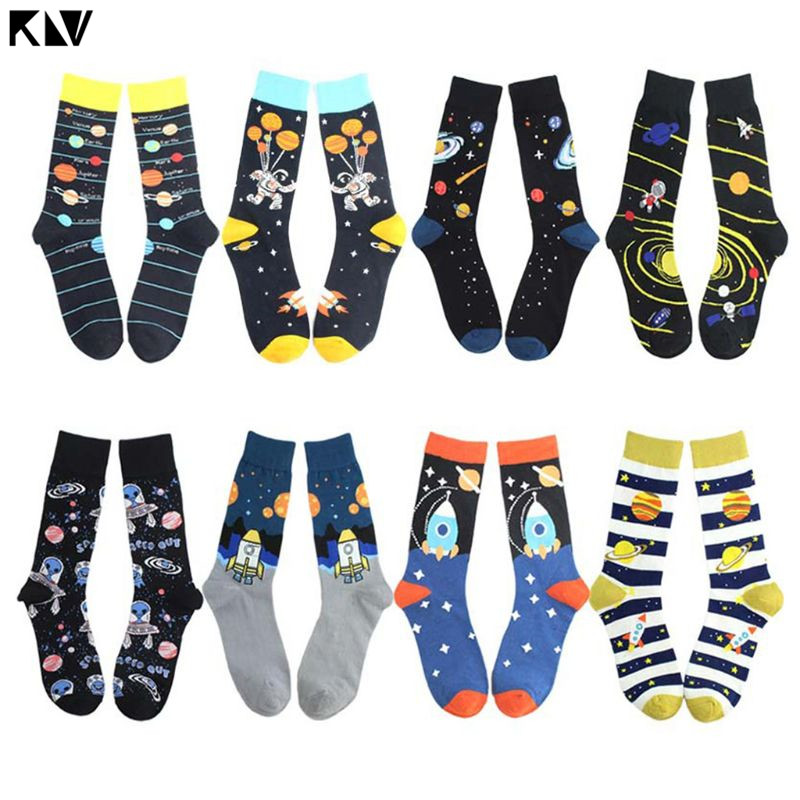 Men Novelty Funny Cotton Crew Socks Crazy Solar System Rocket Astronaut Planet Print Harajuku Contrast Color Mid Tube Stockings