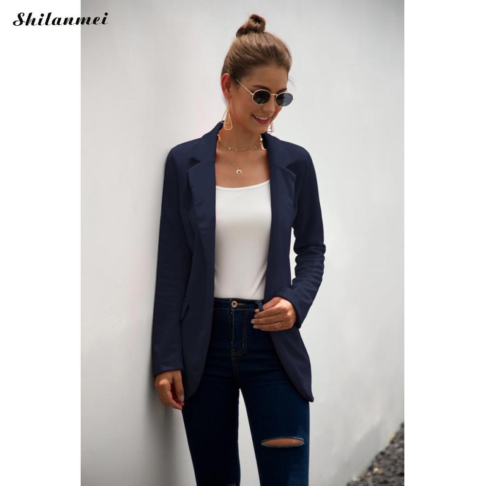 2019 Autumn Women Office Blazer Ladies Elegant Business Jacket Long Sleeve Solid Red Black Slim Blazers Women Thin Fashion Coat