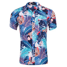 Summer Shirt Men Short Sleeves Floral Print Camisa Masculina Turn Down Collar Camisas Hombre Streetwear Hawaiian Shirt Blusa Man pocket design letter printed turn down collar short sleeves shirt for men