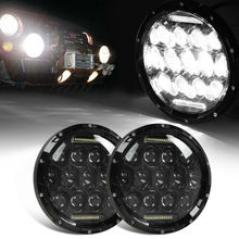 For Trucks Offroad Lights 4X4 Lada Niva DOT Approved Pair Black/Chrome 7Inch 75W LED Headlights with DRL