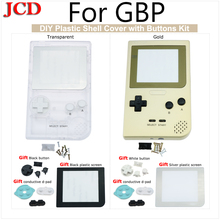 JCD DIY Kit Transparent Housing Shell Case replacement For Gameboy Pocket for GBP Gold Shell Housing with Rubber pads Buttons