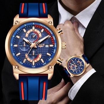 Gold LIGE Chronograph Quartz Watch