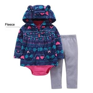 Image 4 - 2019 noworodka dziewczynka chłopiec ubrania zestawy niemowlę dziecko Romper polar i bawełna topy płaszcz + Romper + spodnie 3 sztuk kombinezon zestaw ubrań