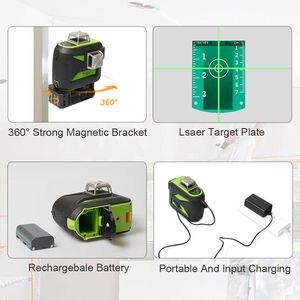 Image 5 - Huepar 12 خطوط ثلاثية الأبعاد مستوى الليزر التسوية الذاتية 360 درجة الأفقي والرأسي عبر قوي في الهواء الطلق يمكن استخدام كاشف شعاع أخضر
