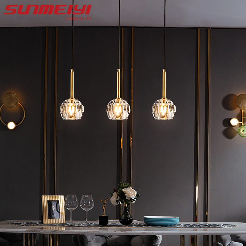 Led Pendant Lights Crystal Ball Copper Industrial Lamp Nordic Hanging Lamp For Bedroom Dining Room Loft Luminaire Suspension