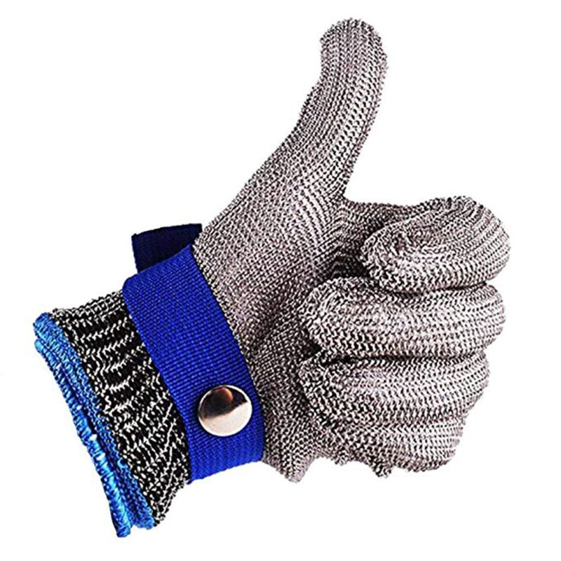 24cm Blue Red Safety Cut Proof Stab Resistant Stainless Steel Metal Mesh Butcher Glove High Performance Level 5 Protection Outd