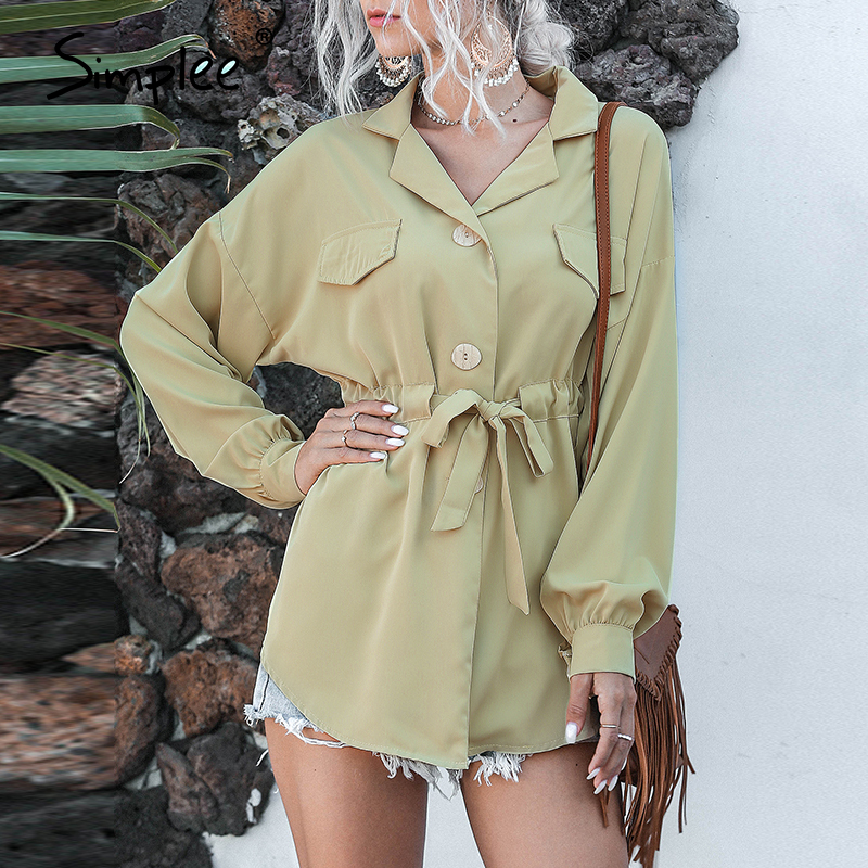 Simplee Casual Vintage Button Women Blouse Shirt Solid Green Buttons Sash Belt Blouse Shirt Beach Summer Feminino Blusas Mujer