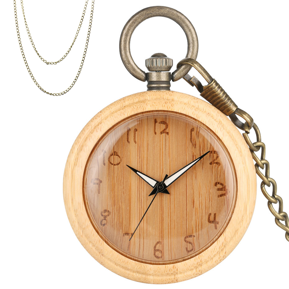 Bamboo Quartz Pocket Watch Creative Arabic Numerals Display Wooden Retro Clock Luxury Pendant Clocks With Bronze Chains