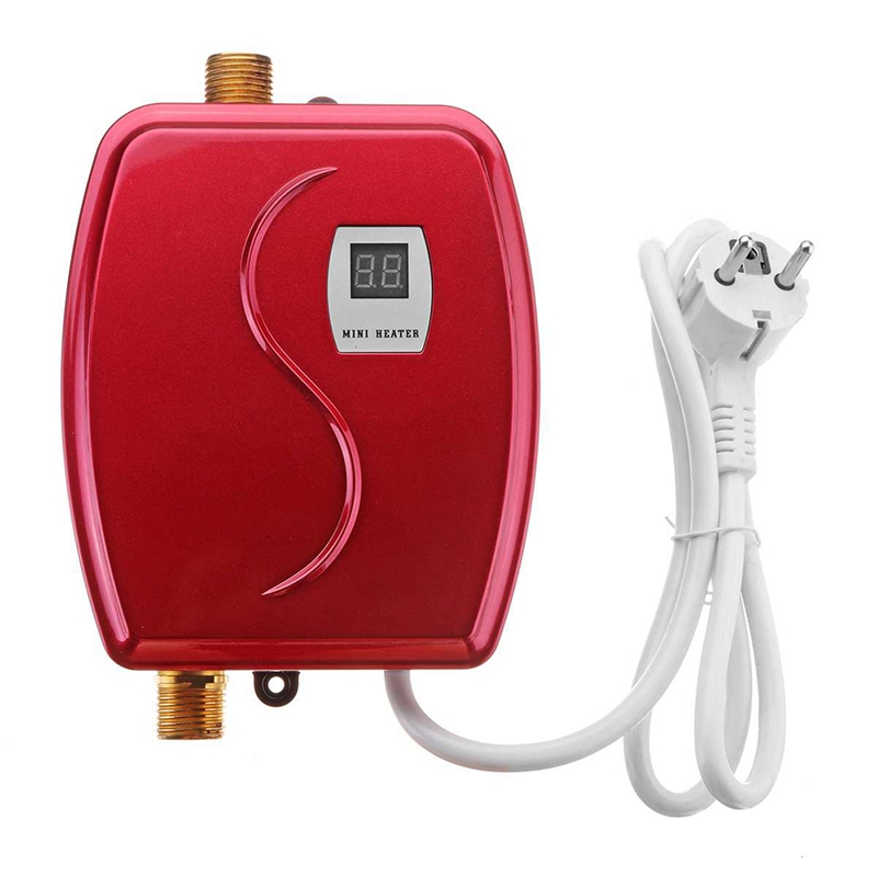 3800W Mini Electric Water Heater Instant Heating LED Display Electric Hot Water Heater Leakage Protection Kitchen EU Plug Red