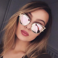 Cat eye Brand Sunglasses Women Designer Mirror Flat Rose Gold Vintage Metal Reflective sunglasses women female Oculos Gafas