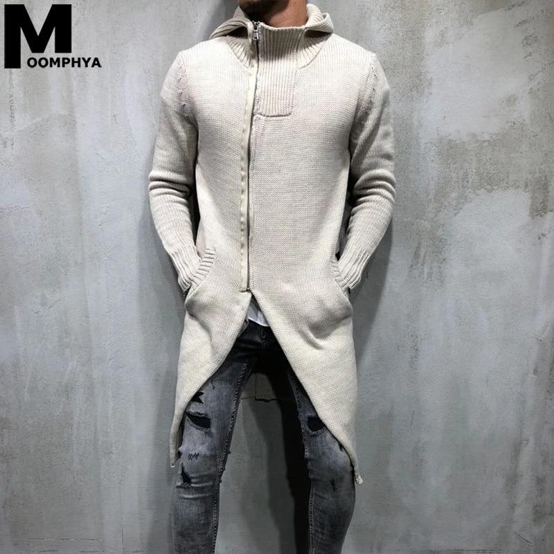 Moomphya Knitted Turnleneck Men Long Style Hooded Men Sweater Coat 2019 Streetwear Sweater Jacket Men Casual Zip Up Sweater Men