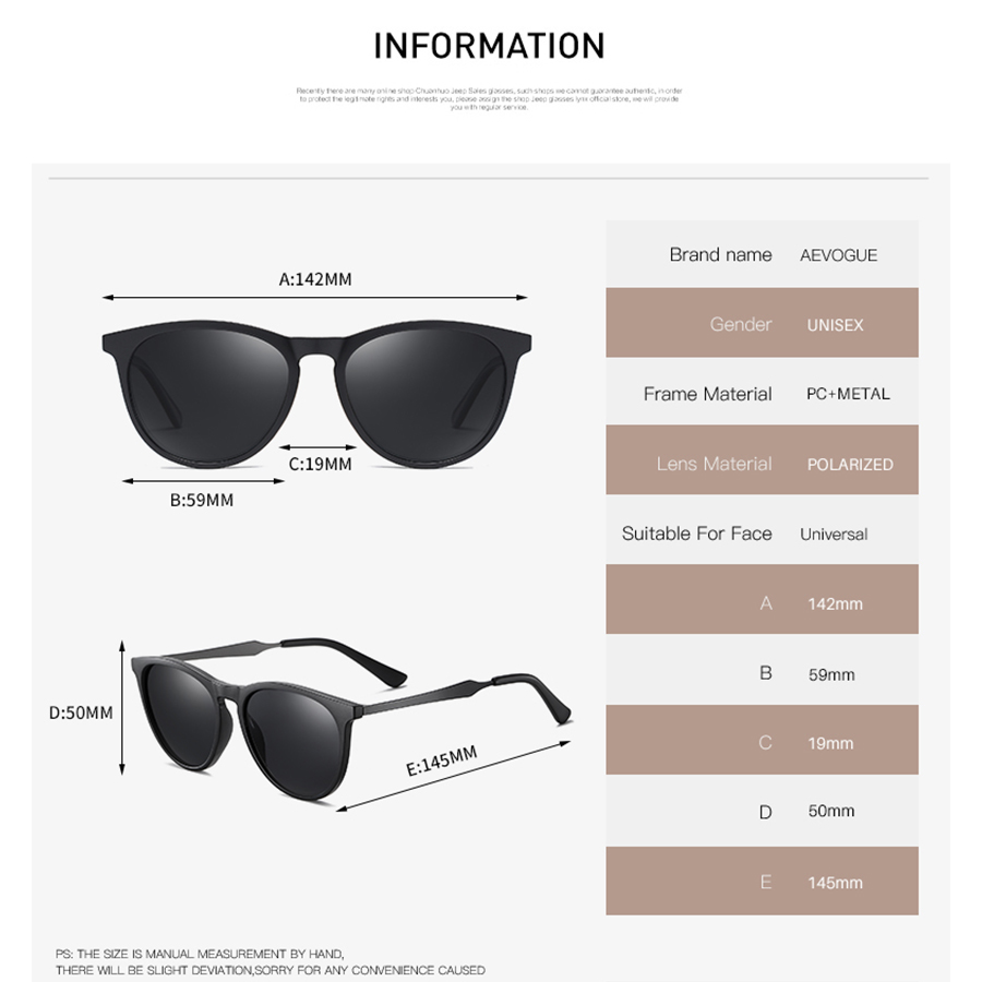 AEVOGUE New Women Polarized Korean Fashion Sunglasses Men Driving Retro Outdoor Glasses Brand Design UV400 AE0816 3