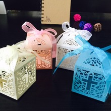 50pcs/lot DIY Crossing Candy Boxes Angel Gift Box For Baby Shower Baptism Birthday First Communion Christening Easter Decoration