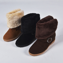 Womens Snow Boot Long Boots Warm Plush Inside Flock Winter New Shoes Plaftform Lapel Flanging Thicken Buckle