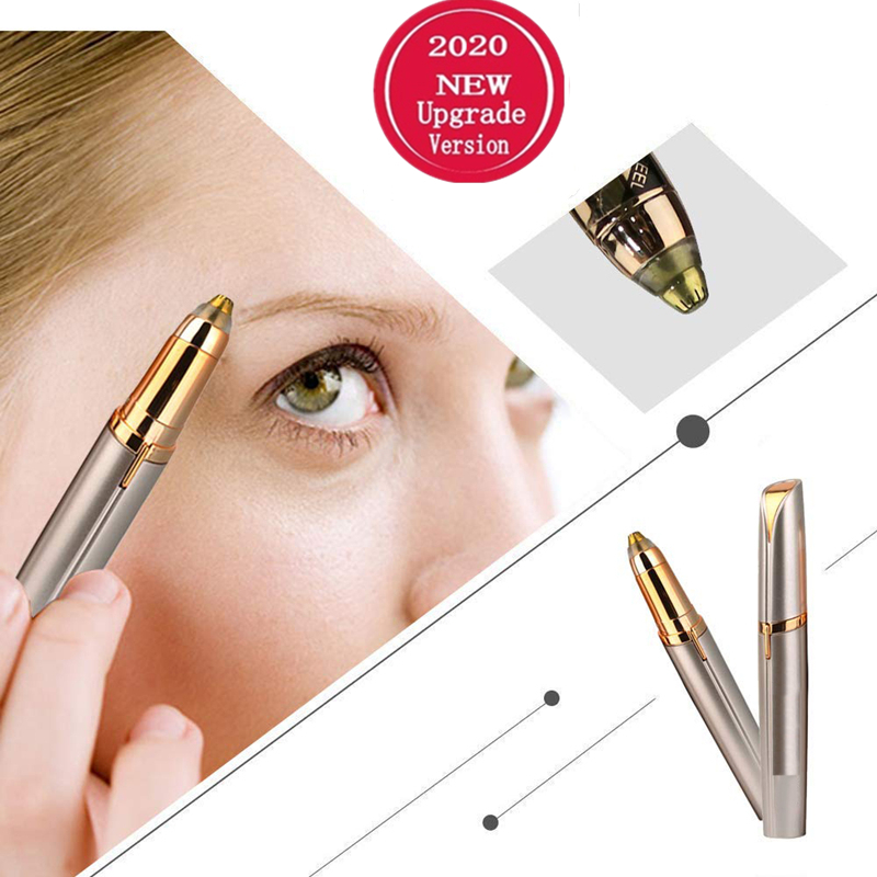 Electric Eyebrow Trimmer Mini Painless Eye Brow Epilator Lipstick Brows Hair Remover With LED Light OPP Package Without Battery